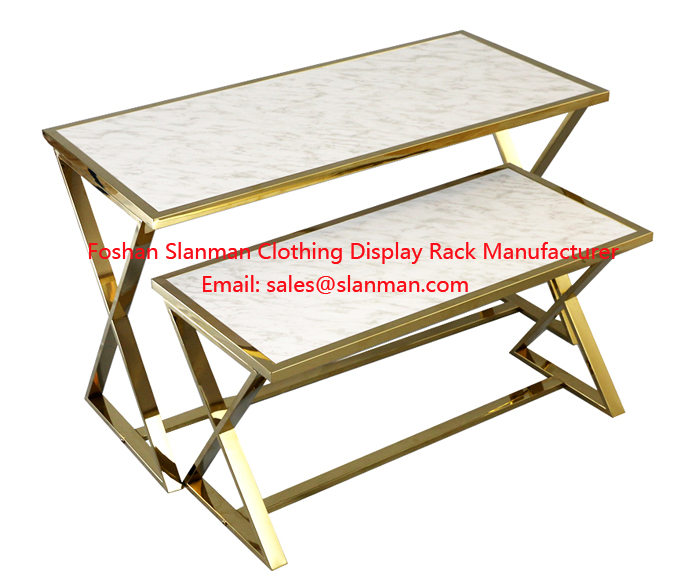 Retail Clothes Shop Gold Marble Grain Modern Display Table