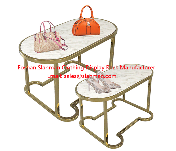 Retail Store Modern Round Wood Clothing Shoe Display Table Stand