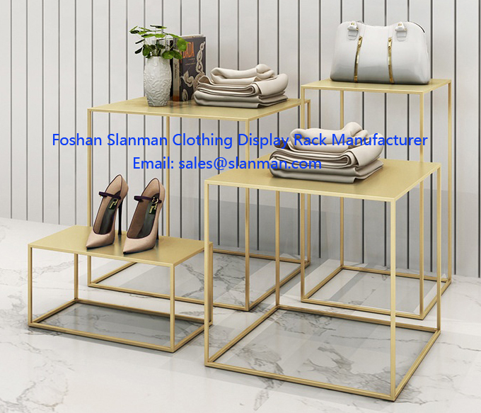 High End Golden Stainless Clothing Display Table for Women Clothing Shop