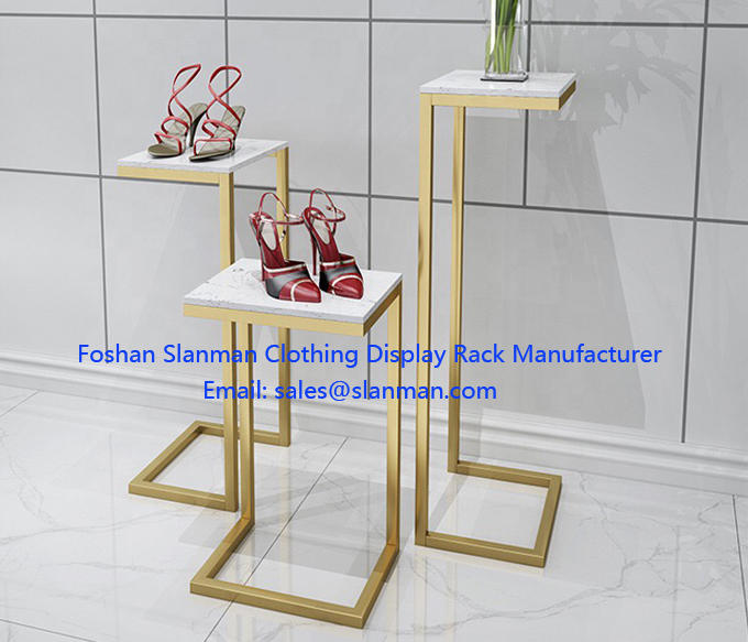 Ladies Clothes Shop Furniture Marble MDF Stainless Waterfall Clothing Display Tables