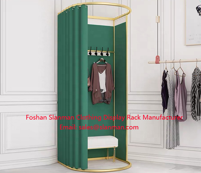 Clothing Store Metal Portable Fitting Room Movable Golden Dressing Room