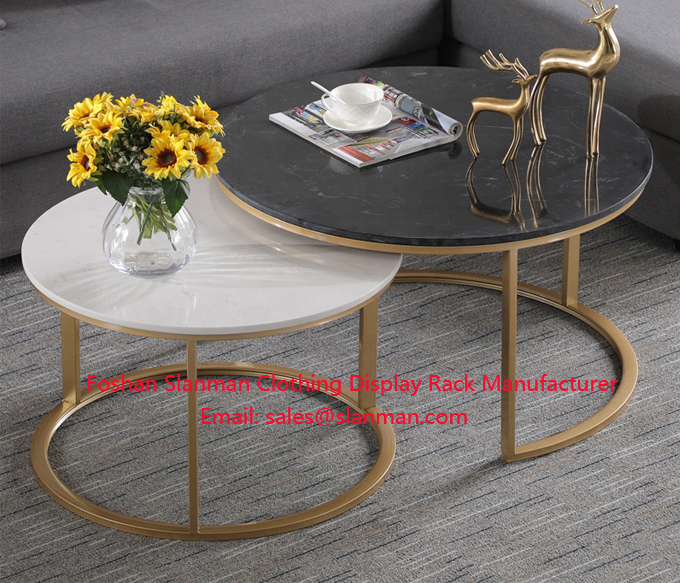 Home Furniture Living Room Marble MDF Top Gold Table Sets Modern Coffee Table Set for Living Room