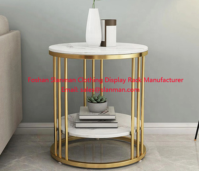 Modern Coffee Table for Living Room Marble MDF Top Panel Metal Round Coffee Table