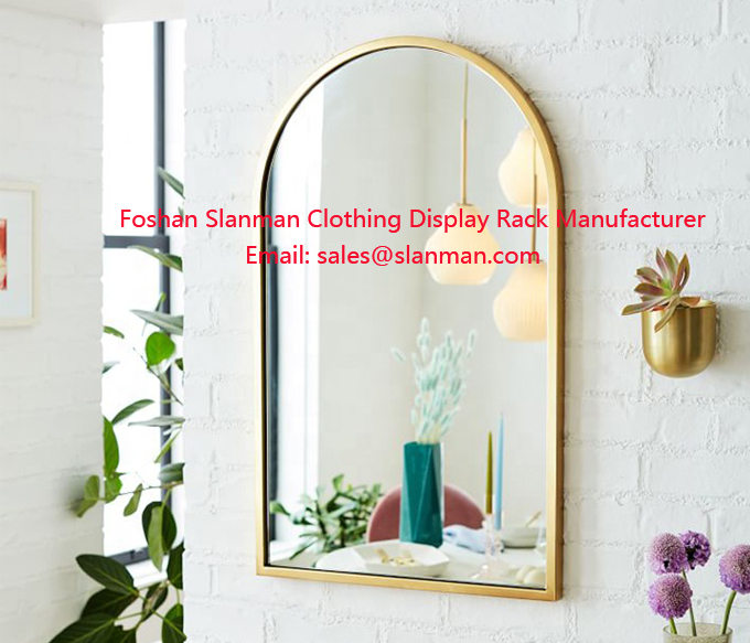 Stainless Steel Framed Dressing Mirror Furniture Decorative Wall Mirror Arch Frame Wall Mirror