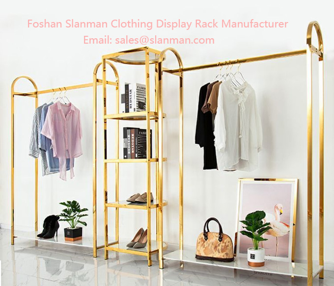Clothing store display rack floor type stainless steel clothing display rack clothing shelf combination gold simplicity